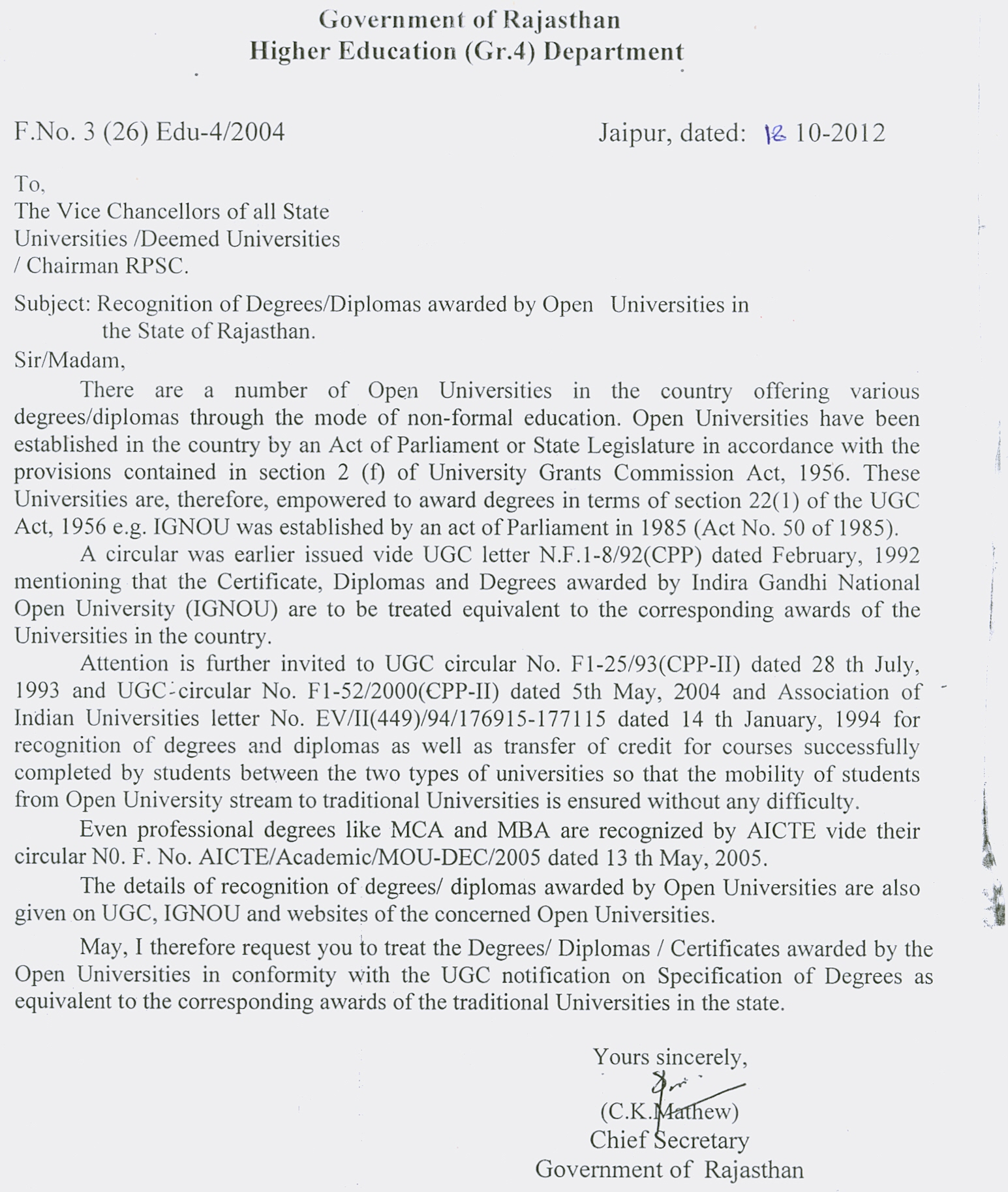 ignou student registration division srd what s new govt of rajasthan order dated 18 10 2012 regarding recognition of degrees diplomas awarded by ignou